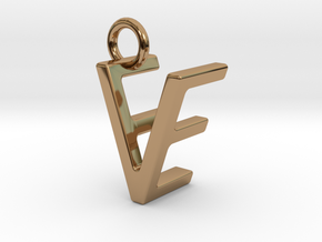 Two way letter pendant - EV VE in Polished Brass
