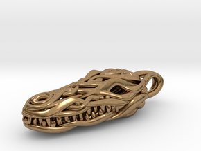 the Crocodile Head Pendant in Natural Brass