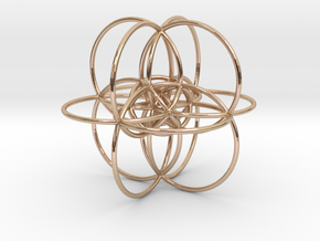 24-Cell Stereographic Projection in 14k Rose Gold Plated Brass