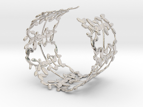 Leaves Bracelet in Rhodium Plated Brass
