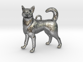 Standing Husky Necklace in Fine Detail Polished Silver