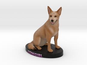 Custom Dog Figurine - Cowgirl in Full Color Sandstone