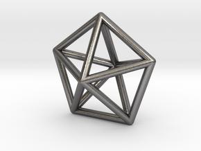 0307 Pentagonal Bipyramid J13 E (a=1cm) #001 in Polished Nickel Steel