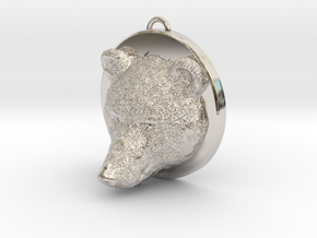 Bear Face Necklace in Rhodium Plated Brass