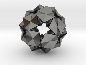 20 Hexagons Ball - 2.8 cm in Polished Silver