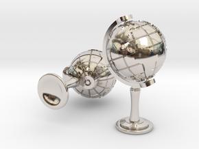 World Cufflinks in Rhodium Plated Brass