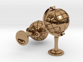 World Cufflinks in Polished Brass