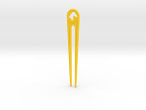 Branded Hair Stick (Two Prong) in Yellow Processed Versatile Plastic