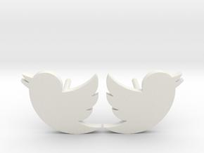 Twitter Studs in White Natural Versatile Plastic