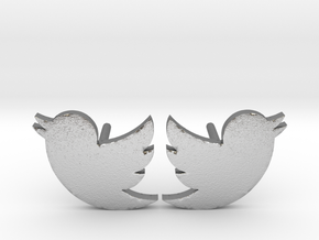 Twitter Studs in Natural Silver