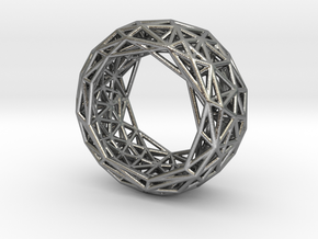 Truss structure ring in Natural Silver