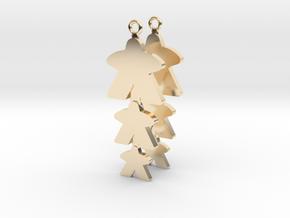 """Meeple Earrings """"threeple"""" in 14k Gold Plated Brass"""
