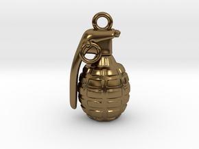 The Grenade Pendant in Polished Bronze