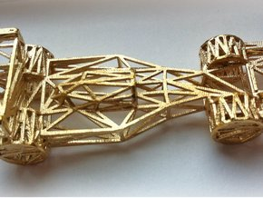 F1 Car Wireframe in Raw Brass