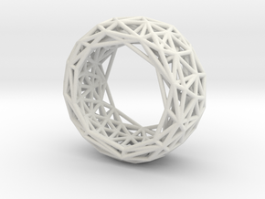Truss structure ring in White Natural Versatile Plastic