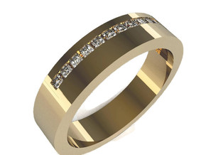 Man's Diamond Band M-009 in 14K Gold