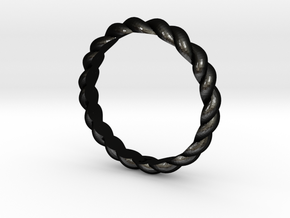 Womans Rope Ring Size 5.5 in Matte Black Steel