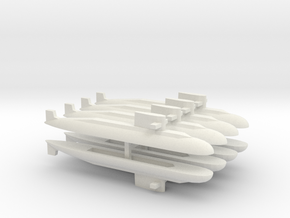 PLA[N] 039A Submarine x 8, 1/1800 in White Natural Versatile Plastic