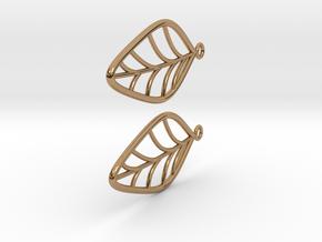 Leaf Earrings in Polished Brass