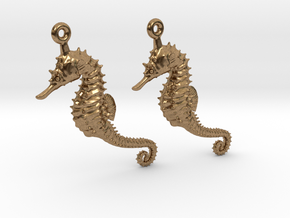 Sea Horse Earrings in Natural Brass