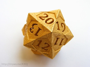 'Starry' D20 Spindown Life Counter Die in Polished Gold Steel