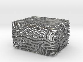 Abstract Keepsake Box in Natural Silver