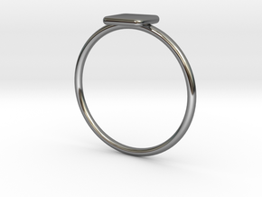 Square Ring in Fine Detail Polished Silver