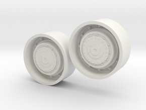 1/64 scale Tractor Rear Planetary Wheels in White Natural Versatile Plastic