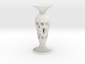 Skull Vase in White Natural Versatile Plastic