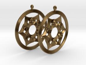 Umayyad Heart Flower Earrings in Natural Bronze