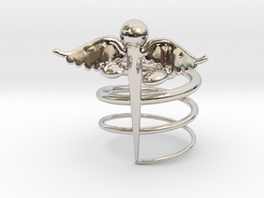 Caduceus Ring (size 9) in Rhodium Plated Brass