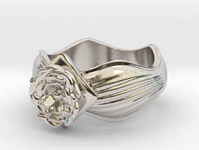Flower Ring size10 in Rhodium Plated Brass