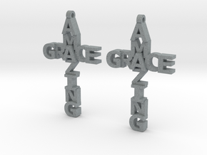 Amazing Grace Cross Earrings in Polished Metallic Plastic