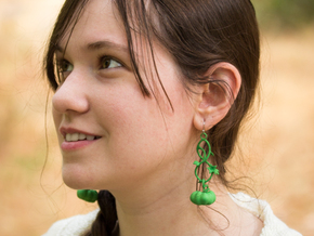 Fairytale Pumpkin Whimsy Earrings in Green Processed Versatile Plastic