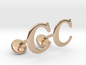 Initial Cufflinks (C) in 14k Rose Gold Plated Brass