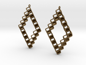 "Cube Earrings 1  ""Points of View"" collection in Polished Bronze"