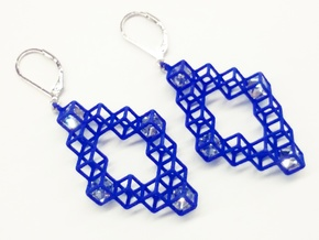 """Cube Earrings 3 """"Points of View"""" collection in Blue Processed Versatile Plastic"""