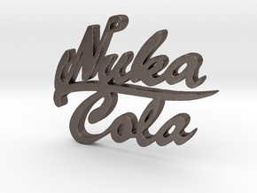 Nuka Cola Text Pendant in Polished Bronzed Silver Steel