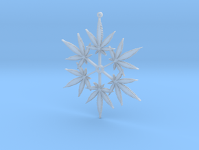 Snowflake Cannabis Ornament  in Smooth Fine Detail Plastic