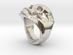 The real Skull Ring (size 9) in Rhodium Plated Brass