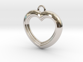 Cascading Heart Pendant in Rhodium Plated Brass