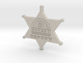Sunset Sarsaparilla Deputy Sheriff Badge in Natural Sandstone
