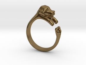 Puppy Dog Ring - (Sizes 4 to 15 available) Size 9 in Polished Bronze