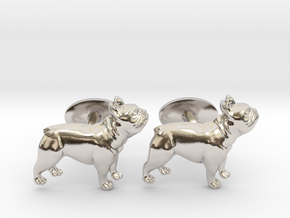 French Bulldog Cufflinks. in Rhodium Plated Brass