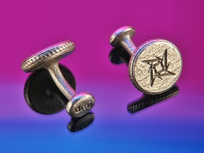 Own logo and initals cufflinks in Polished Bronzed Silver Steel