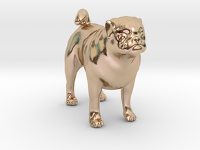 Standing Fawn Pug in 14k Rose Gold Plated Brass
