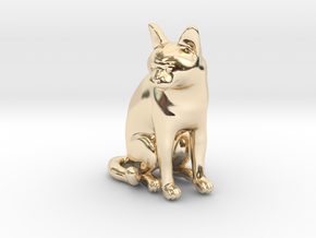 Sitting Gray Chartreux in 14k Gold Plated Brass