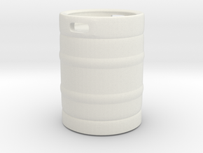 Beer Barrel 01. 1:24 Scale in White Natural Versatile Plastic