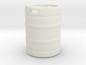 Beer Barrel 01. 1:24 Scale in White Natural Versatile Plastic