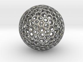 Goldberg Polyhedron pendant in Natural Silver
